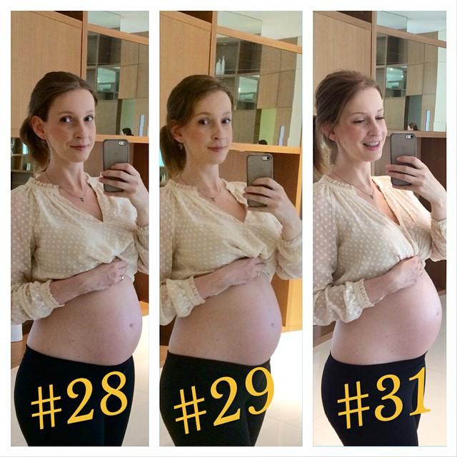 Semana passada estava tããããooo quente que fiquei com preguiça de me arrumar e tirar a foto da barriga! Mas hoje eu fui e apesar de não parecer pelas fotos, acho que está crescendo bastante. #31semanas #31weeks #maedemenino #grávidafeliz