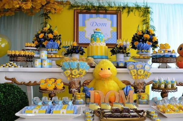 ... deixaram a mesa principal # decoracao azul e amarelo cha de bebe