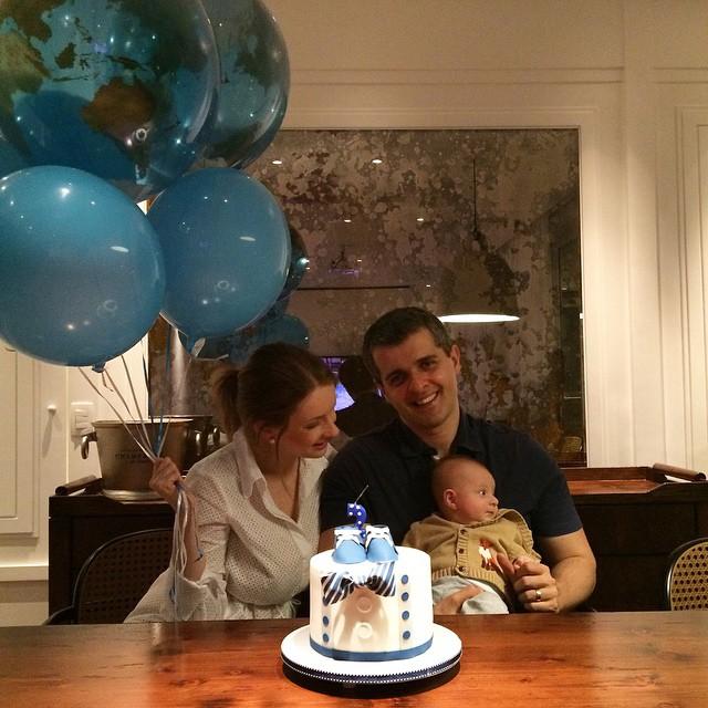 2 meses ?? Balões + bolo + muito amor!  Repararam nos balões com mapa do mundo? Amei! Combinando com o tema do quarto!
